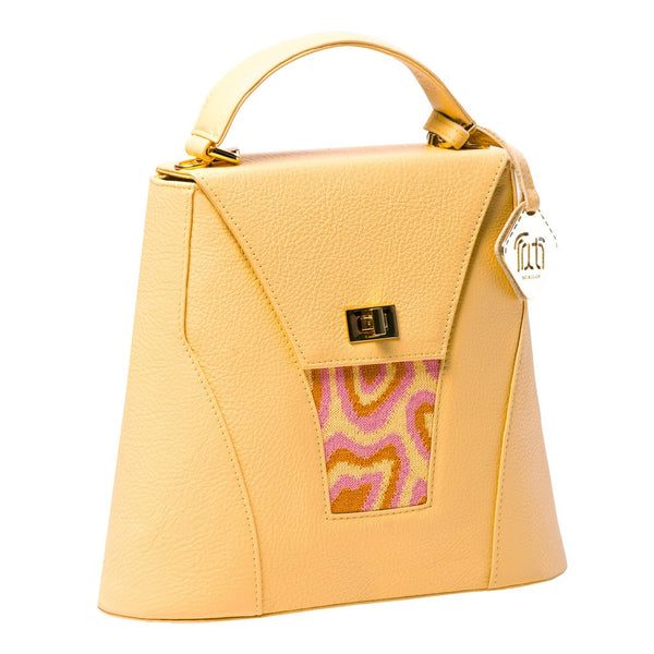 TATI BODUCH Designer Handbag, AGATE Collection, genuine leather: yellow, knitwear: pink