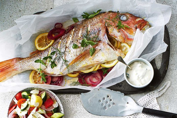 Baked Snapper with Greek Potato Salad