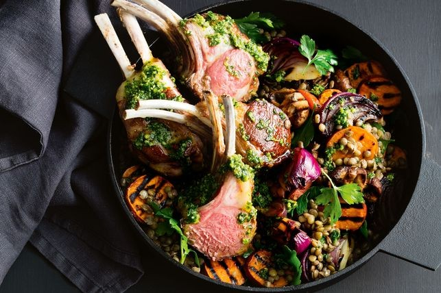 Lamb Rack with Sweet Potato and Chimichurri