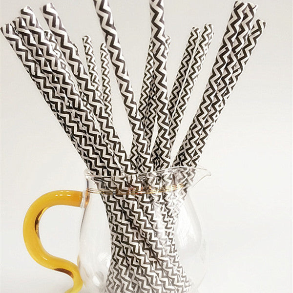 Black & White Chevrons Paper Drinking Straws