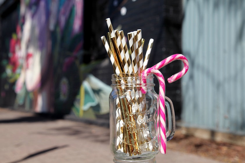 Solid and Spiral Gold Paper Drinking Straws
