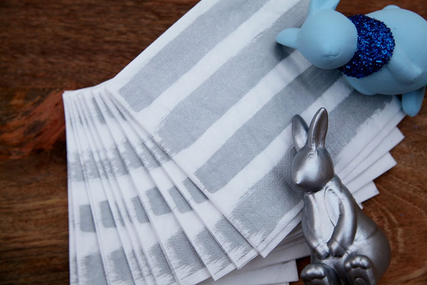 Silver Stripes Paper Napkins