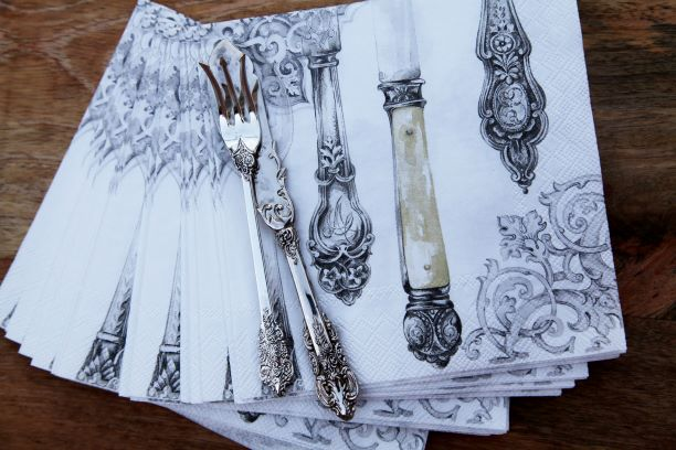 Cutlery White and Silver Table Napkin