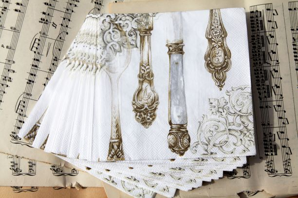 Cutlery White and Gold Table Napkin