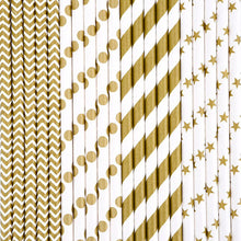 Gold Designs Paper Drinking Straws