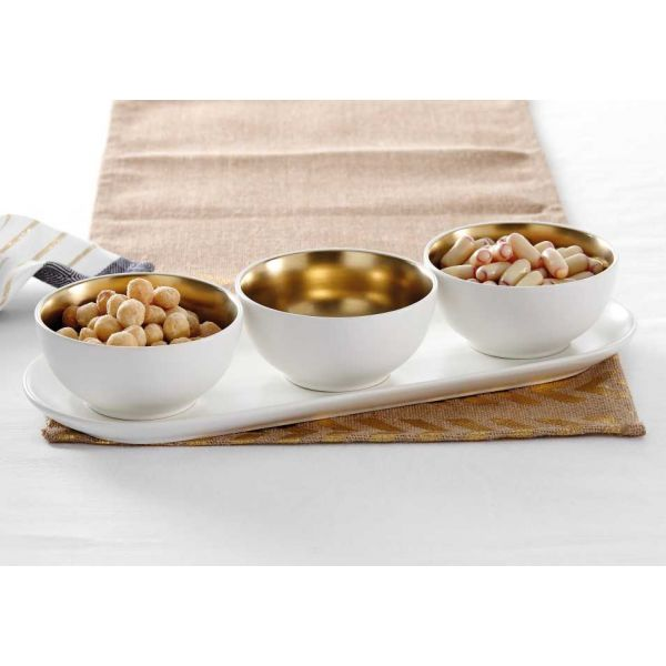 Glitz Gold Stoneware 4pce Bowl Set