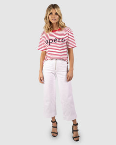 Apéro Stripe Beaded Tee - Red/Cream