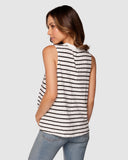 Apéro Embroidered Tank Top - Black/White Stripe
