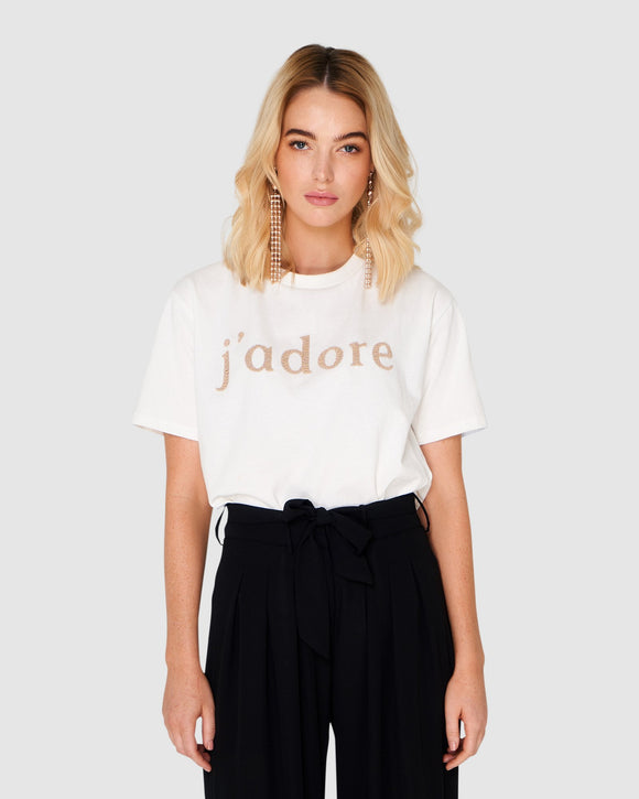 Jadore Beaded Tee - Off White