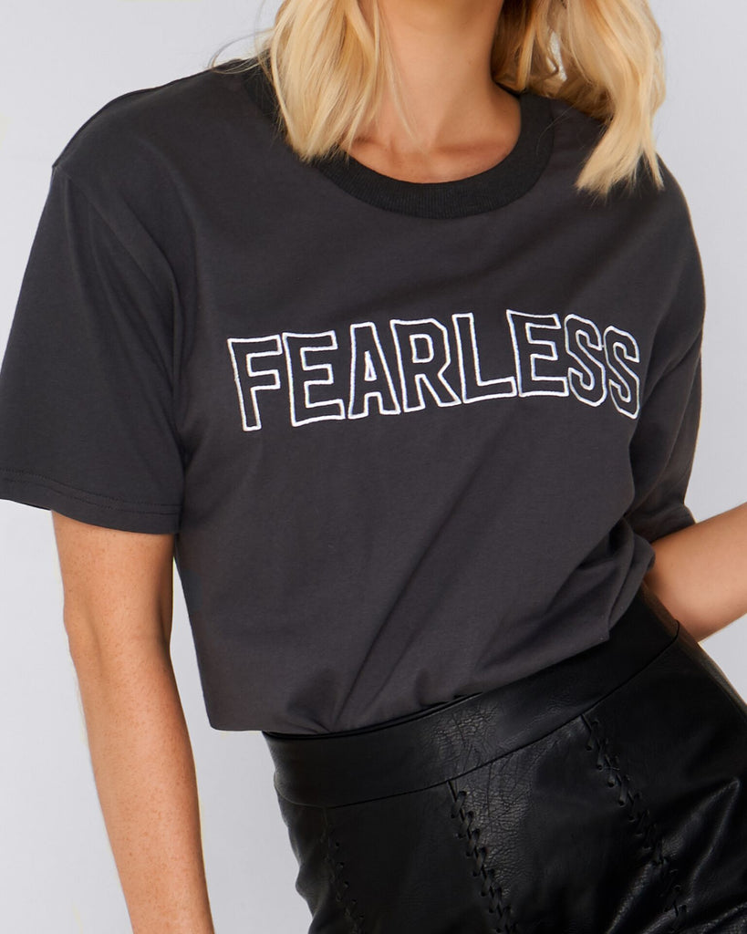 Fearless Embroidered Tee – Charcoal