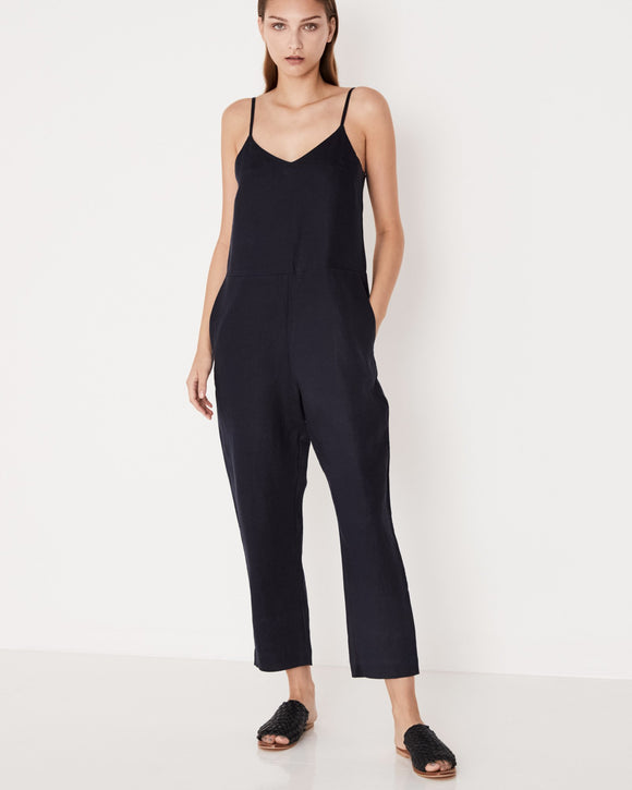 Linen Slip Jumpsuit Worn Navy