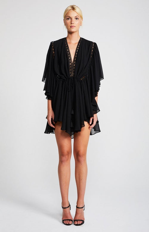 Eclipse Frill Sleeve Mini Dress Black