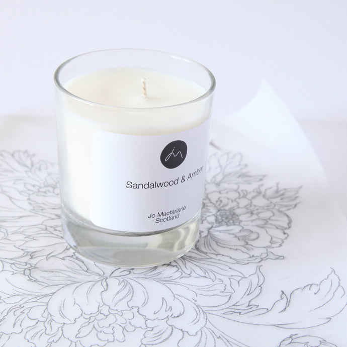 Sandalwood & Amber Scented Candle