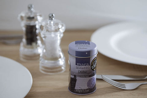 Mara Seaweed Dulse shaker tin on table