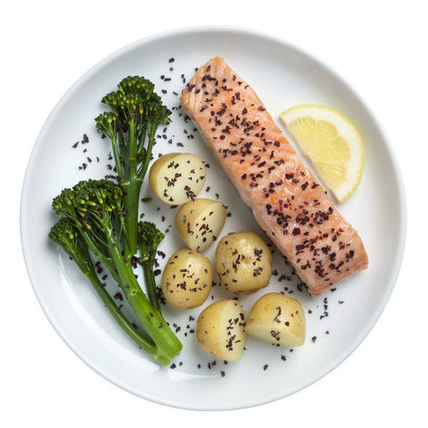 Poached salmon with Dulse seaweed flakes