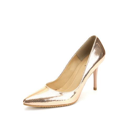 V-Cut Heel — Lizard Effect Metallic