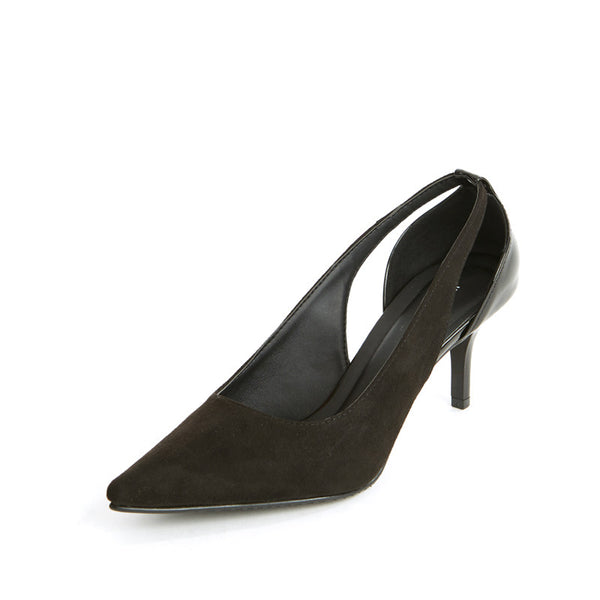 Suede Cutout Pumps