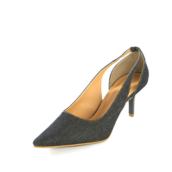 Denim Cutout Pumps