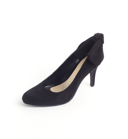 Suede Pump with Ribbon Detail