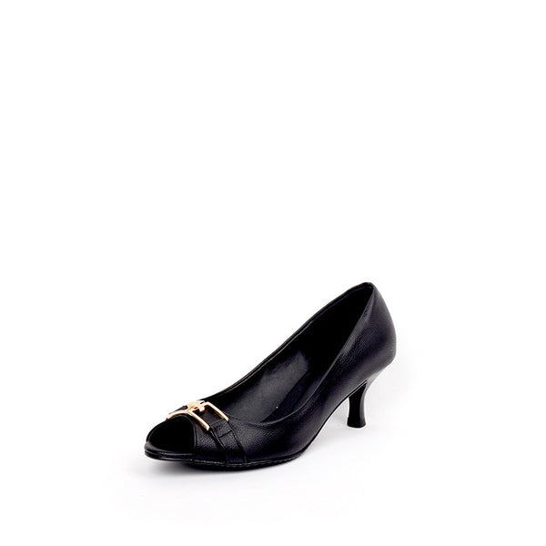 Peep Toe Sandal-Black-6.5