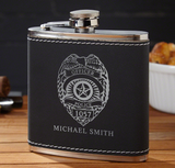 Black Suede Police Badge Hip Flask (Personalized)