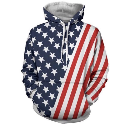 American Flag Star and Stripes all over printed Hoodie
