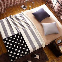 Grey American Flag Blanket