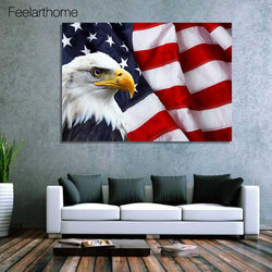 1 Piece American Flag Bald Eagle Canvas