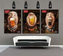 3 Pieces mouth beer cup Canvas