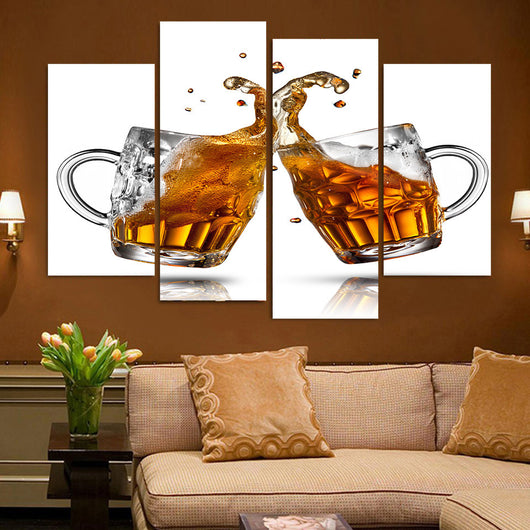 4 Piece Beer Mugs Canvas