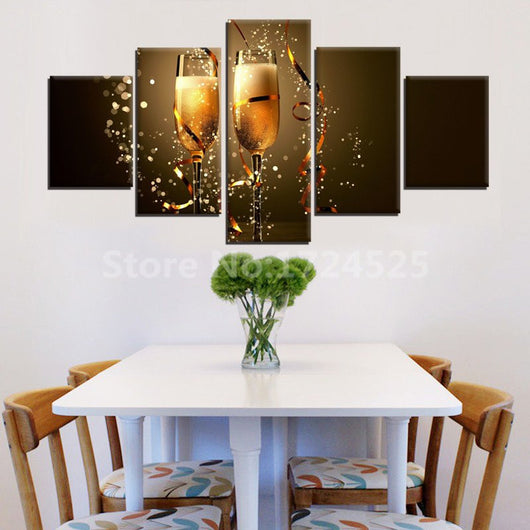 Modern Abstract 5 Panel Beer Unframed Canvas
