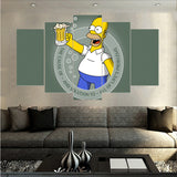 5 Pieces Unframed simpson Beer Cup Canvas