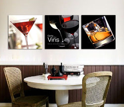 3 Panel glass wine beer modern Canvas