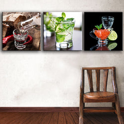 3 Pieces Vodka_Caviar_Lemons modern canvas