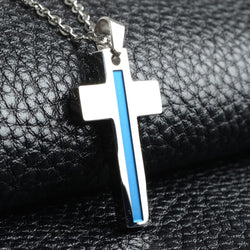 Stainless Steel Thin Blue Line cross Necklace