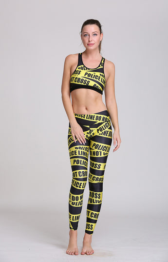 Police Yellow warning line Yoga Bra and Leggings