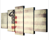 Saluting Soldier On the USA Flag Canvas