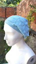Lace knit beanie, cloche style hat, festival wear.