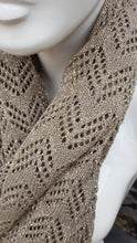 handmade lace knit infinty scarf, warm caramel and gold lurex coloured cowl.