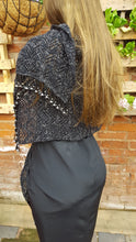 silver lurex and black lace shawl
