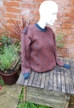 rust and teal drop sleeve jumper