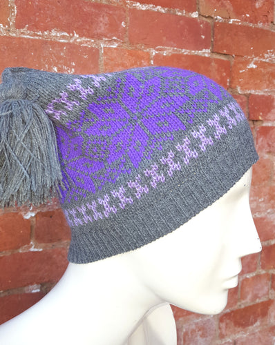 Dark grey, Ski hat, square shaped tassel hat, unisex winter hat,