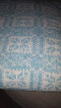 soft turquoise and grey fair isle cushion