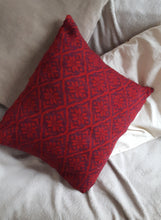 red and aubergine cushion