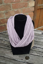 Handmade, lace knit infinity scarf, Cowl, Ashes of Roses coloured
