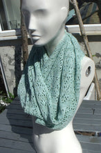 Handmade, lace knit infinity scarf, Cowl, pistachio green coloured