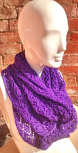 Handmade, lace knit infinity scarf, Cowl, Royal Purple coloured
