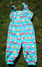"""Camper Van"" Childs  dungarees, play suit, long rompers, summer fun festival feeling age 2-3"
