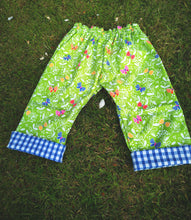 green butterfly capri pants