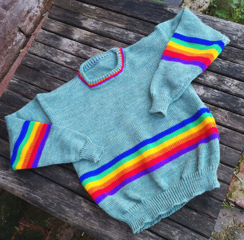 sea foam green rainbow jumper
